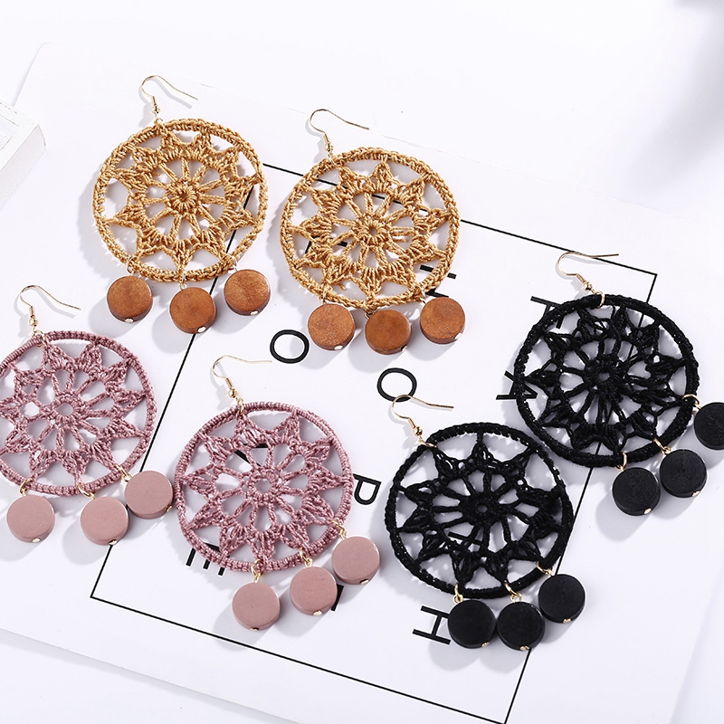 Bohemia Drops Flower Earrings New Vintage Woman Tassel Round Hollow Out Wood