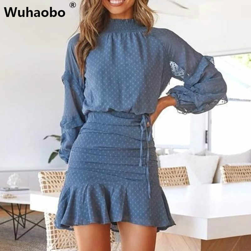 Wuhaobo 2 Pcs Sets Turtleneck Loose Shirt Dress Women Boho Fashion Butterfly Sleeve Sexy Ruffles Mini Dot Short Dress Vestidos