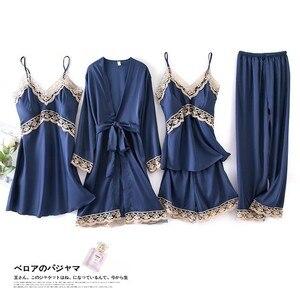 Image 5 - Print Flower Wedding Robe Set Women Sexy 5pcs Nightwear Nightgown Loose Kimono Bath Gown Silky Soft Satin Home Clothes Lingerie