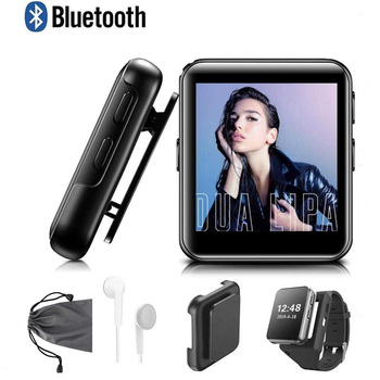 Mini Clip MP3 Player Bluetooth Touch Screen Portable Music Player with Watch Strap HiFi Metal Audio Player with FM for Running