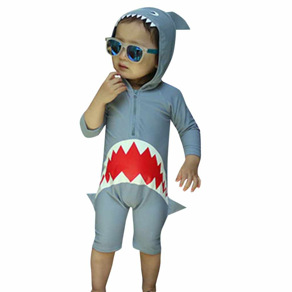 Dzieci dzieci z długim rękawem stroje kąpielowe rysunkowy rekin z kapturem plaża strój kąpielowy jednoczęściowy strój kąpielowy ładny z czepek kąpielowy w rozrywce