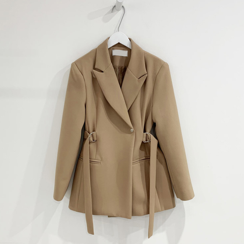 Spring Autumn Korean Solid Women Blazer Coats Casual Single Buttons Sashes Female Suit Casual Long Sleeve Ladies Blaser