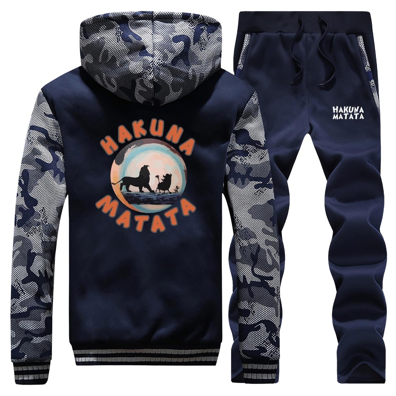 The Lion King Tracksuits Jacket Pant Set Men Hakuna Matata Simba Pumbaa Timon Hoodies Sweatpant Sets Suit 2 PCS Coat Sportswear