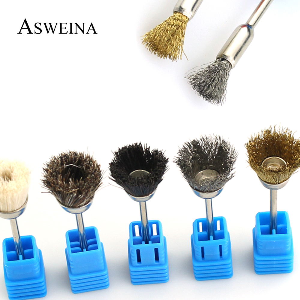 1pcs Nail Drill Metal Brush 3/32'' Rotary Manicure Electric Drills Tools Copper Wire Cleaning Nail Art Accessories