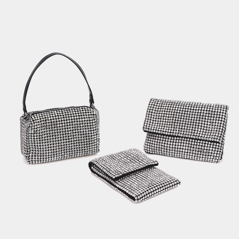 New Style Full Rhinestone Handbag Luxury Evening Party Clutch Fashion Mini Wedding Chain Purse Bag Designer Women Shoulder Bag