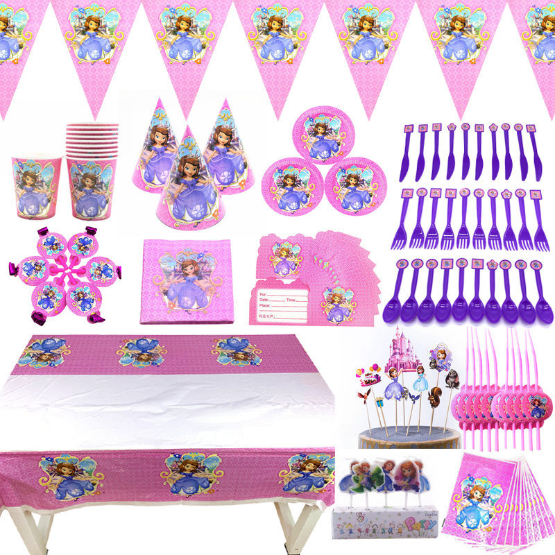Disney Sofia <font><b>Princess</b></font> <font><b>Party</b></font> Supplies Plates Gift Bags Hat Cups Girl Birthday <font><b>Party</b></font> Cake Decoration <font><b>Princess</b></font> Sofia Balloons Flags image