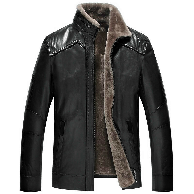 Sheepskin Coat Winter Genuine Leather Jacket Natural Wool Liner shearling Men's Fur Coat Blouson Cuir Homme 2165 KJ1478