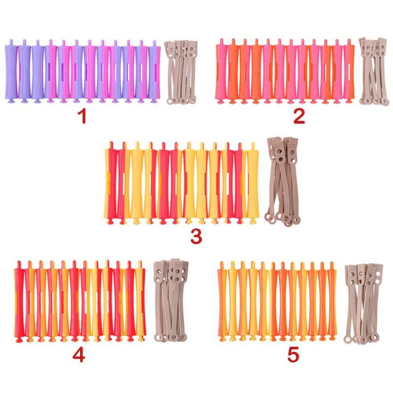 12Pcs/Set Professional Perm Rod DIY Salon Hair Roller Rubber Band Hair Clip Curling Curler Hairdressing Maker Styling Hair Tool