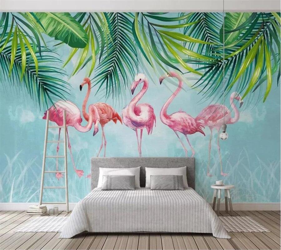 Самоклеящиеся обои любых размеров на заказ, настенные 3D фотообои в скандинавском стиле с изображением тропических растений, фламинго, деко...