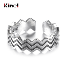 Kinel New Real 925 Sterling Silver Wave Ring for Women Vintage Fine Jewelry Wedding Engagement Party Silver Ring Girlfriend Gift hongclub 2017 new s990 sterling silver ring men jewelry magpie flower wedding brand ring women gift fine jewelry wholesale r18