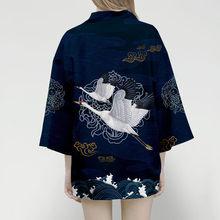 2021 New kimono Women 3d T shirt Samurai Crane Japanese Summer Tops Streetwear Fashion Yukata Female Haori Traditional Clothes