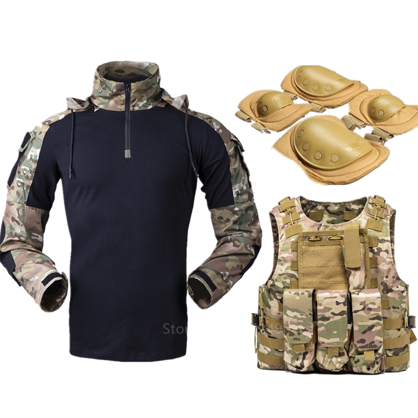 Military Tactical Clothing Combat Shirts Knee Pad Elbow Pads Airsoft Army Uniform Military Accessories Vest SWAT Assault Hunting