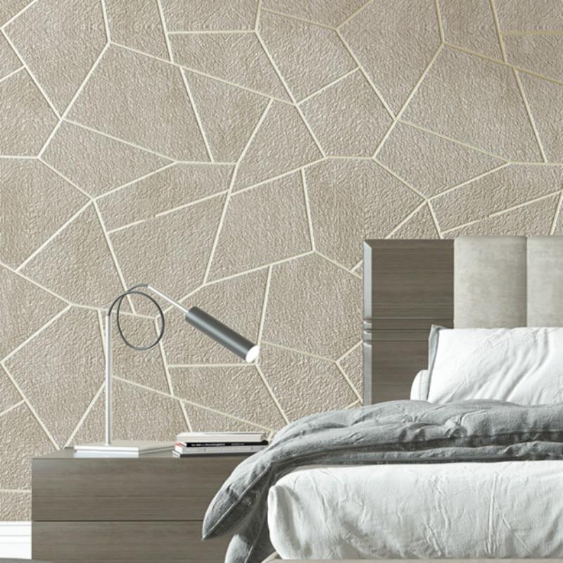 Velvet 3D Geometric Wallpaper Grey Brown Bedroom Living Room Decor Wall Paper Modern Embossed Flocked Textured Wall Covers