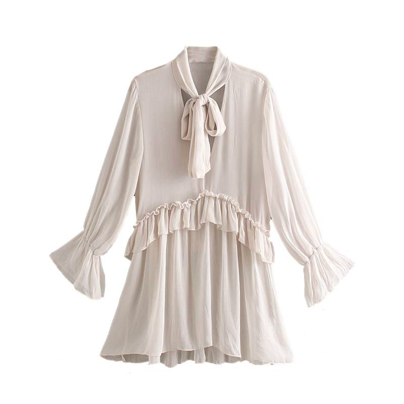 Women Tops and Blouses Long Sleeve Shirts Chic Solid Bow Tie Collar Ruffles Women Shirts Sweet See Through Women Tops