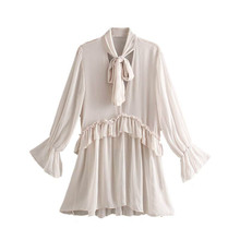 Women Tops and Blouses Long Sleeve Shirts Chic Solid Bow Tie Collar Ruffles Sweet See Through
