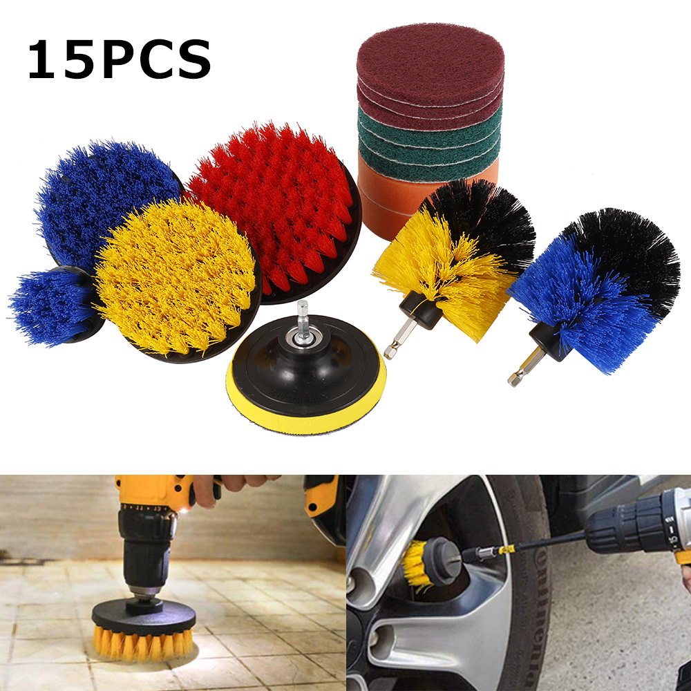 15pcs/set Drill Power Scrub Clean Brush For Leather Plastic Wooden Furniture Car Interiors Cleaning Power Scrub