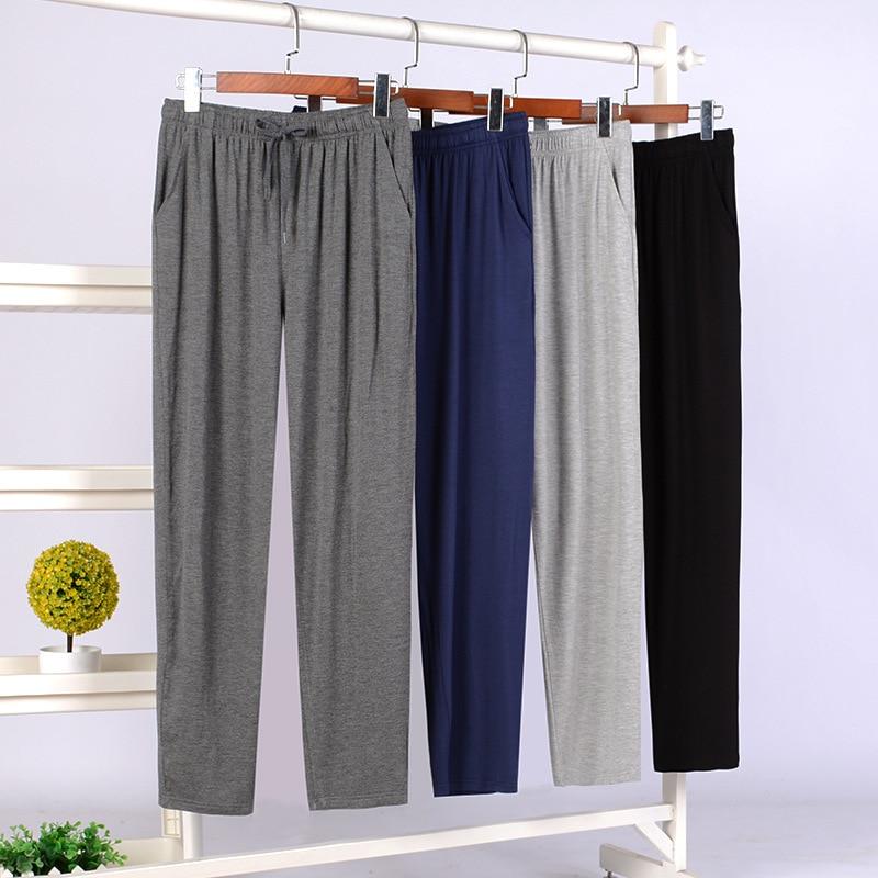 2020 Fall Plus Size Men's Home Pajamas Pants Solid Color Soft Modal Fabric Casual Sleepwear Trousers Bas De Pyjama Homme