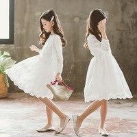 New Spring White Flower Girl Tutu Dress Wedding Tulle Long Sleeve Girls Lace Dresses Robe Demoiselle Rose Fille Kids Dress CA744