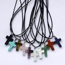 ASHMITA натуральный кварц каменный крест кулон ожерелье для женщин и мужчин кожаный шнур Крест Кристалл колье Чакра Ювелирные изделия серебряные фурнитура