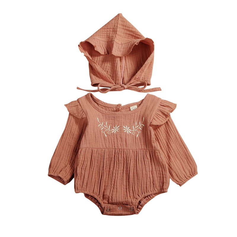 2PCS Baby Spring Autumn Clothing Newborn Baby Girl Cotton&Linen Clothes Ruffle Romper Embroidery Jumpsuit Hat Outfit