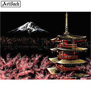 5d diy diamond painting Mt. Fuji Japanese cherry blossom landscape sticker full square 3d diamond mosaic diamond embroidery set