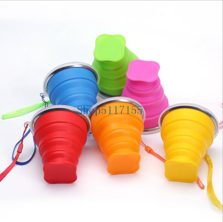 100pcs 240ml Vogue Portable Collapsible Travel Coffee Tea Cups Silicone Outdoor Camping Cup Folding Retractable fold Water Cup