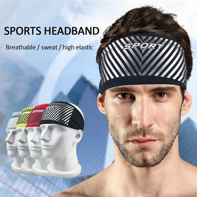 Breathable Sports Fitness Antiperspirant Belt Mens Elastic Headband Wide Sweatband Stretch Sweat Sport Yoga Run Solid Hairband 1