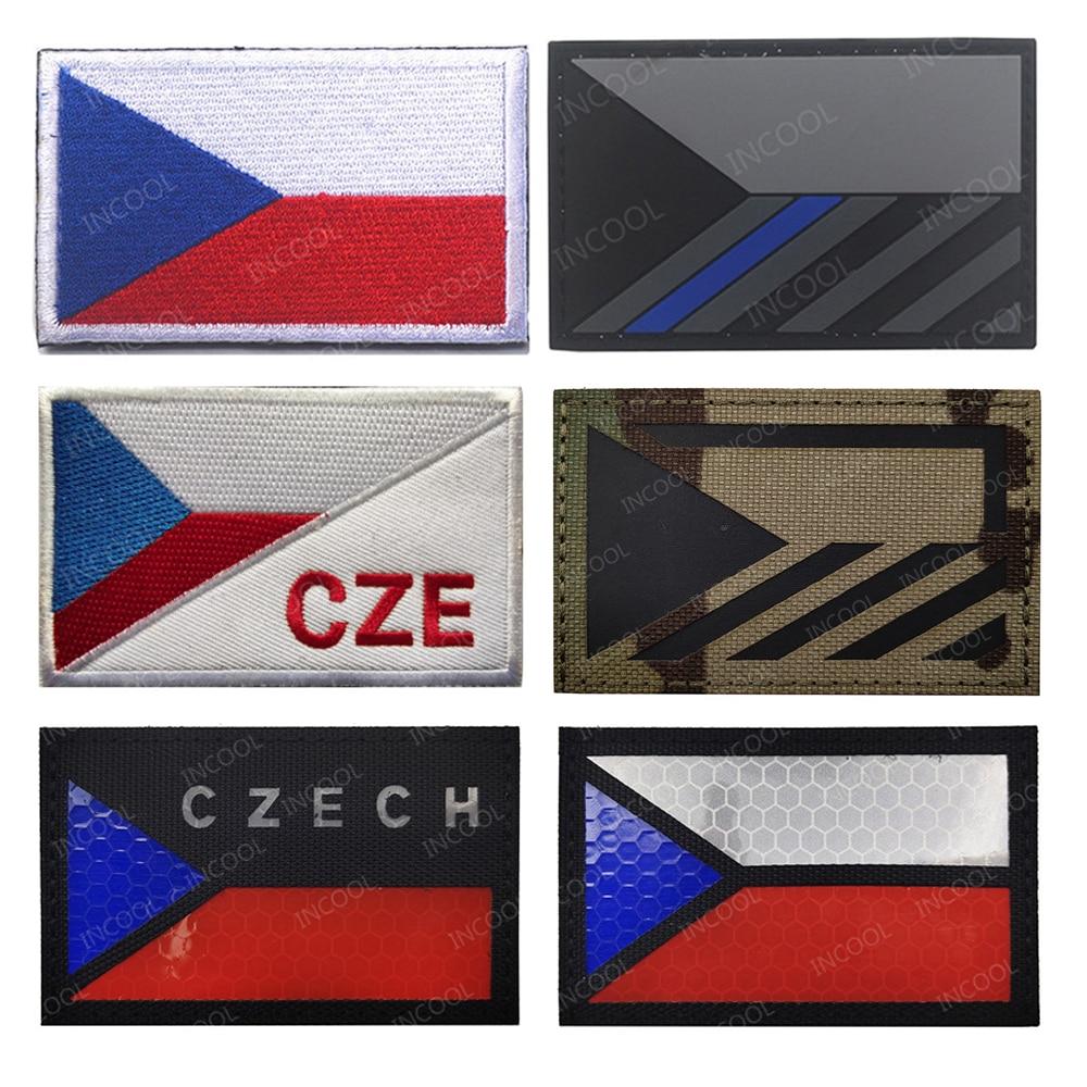 Чешская Республика инфракрасный ИК Светоотражающие флаг вышитые патчи армейские военные тактические заплатки эмблема, синий с декоративн...