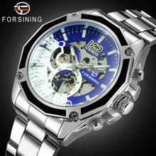 FORSINING Steampunk Skeleton Watch Men Automatic Mechanical Watches Blue Dial Stainless Steel Strap Fashion Dress Male Clock forsining fashion creative automatic mechanical watch men skeleton tonneau dial leather strap unique casual watches dropshipping