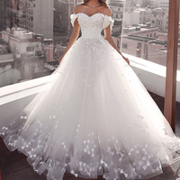 Sweet Bow Puffy Tulle Ball Gowns Wedding Gowns 2020 Appliques Lace Off The Shoulder Princess Long Bridal Dresses