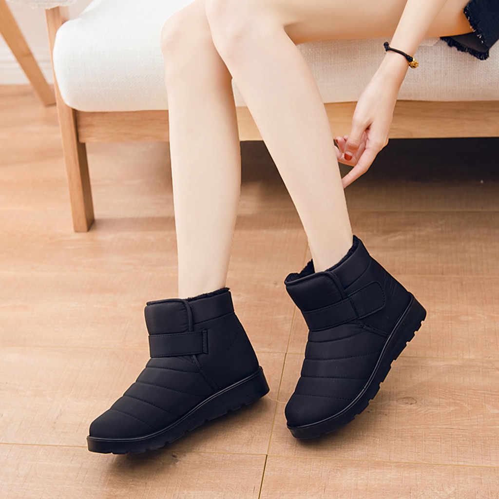 corto felpa cremallera plana mujeres nieve Botas y zapatos de invierno tobillo