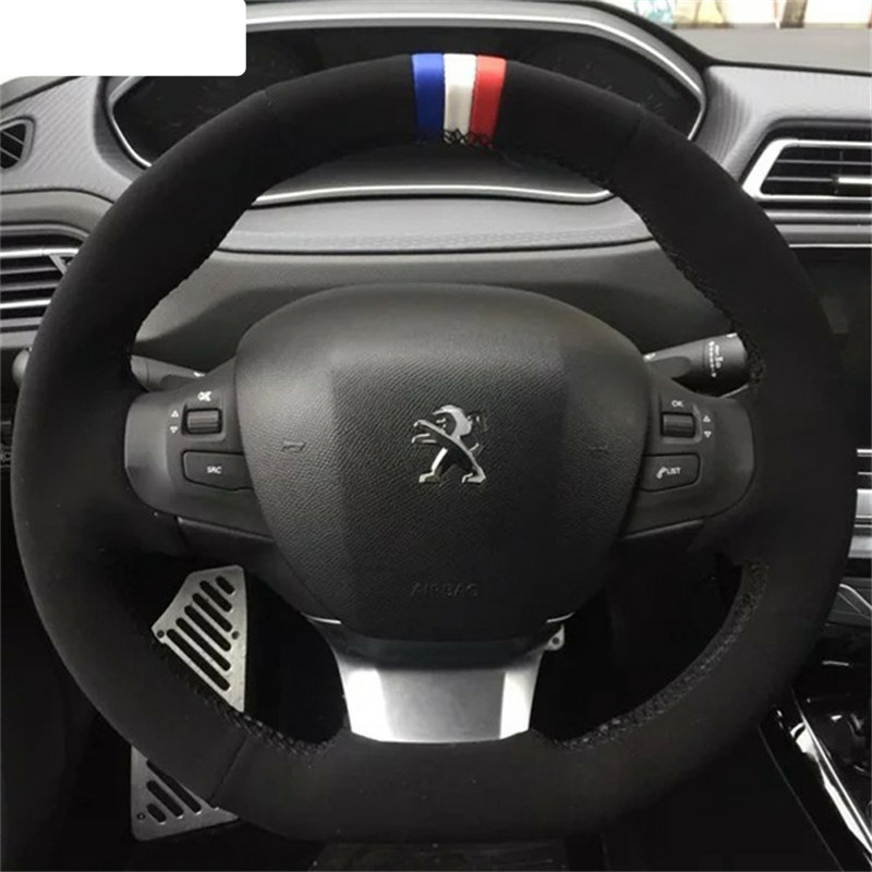 Genuine Suede Car Steering Wheel Cover for Peugeot 308 2008 2019 suede wheel cover image