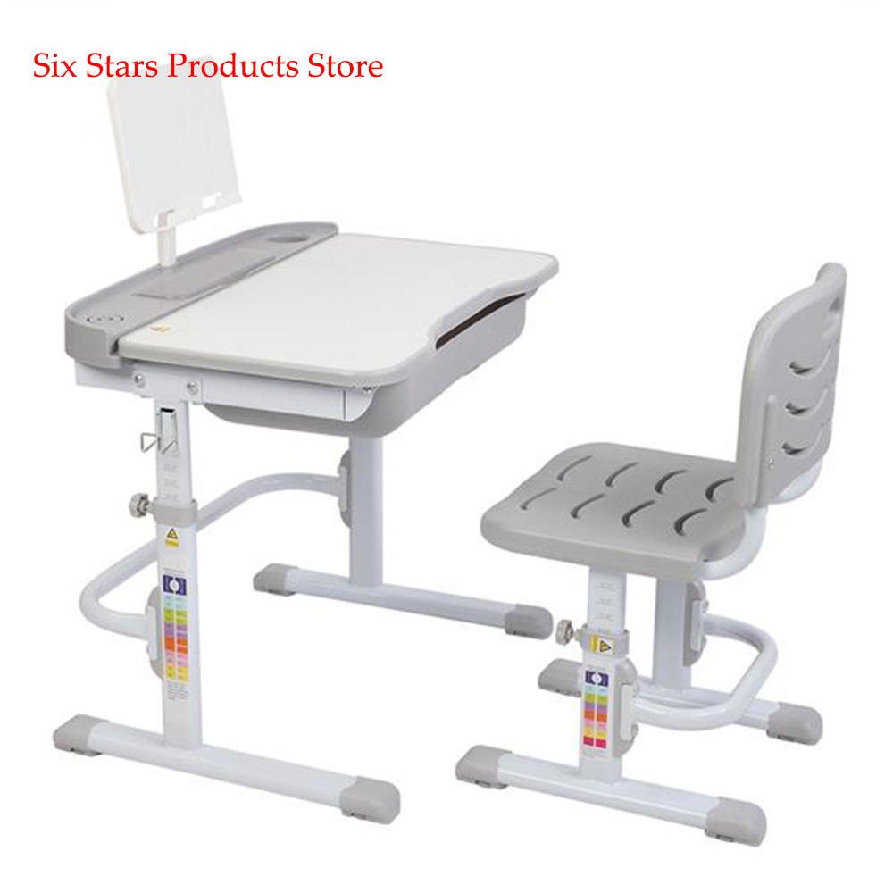 Adjustable 70CM Lifting Table Can Tilt Children Desk Table And Chair Gray (With Reading Stand Without Table Lamp)