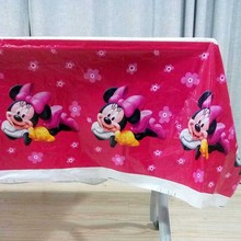 108*180cm Minnie Mouse Party Supplies Birthday Disposable Tablecloth Table Cloth Tablecover Decorations Pink Baby Shower