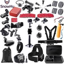SnowHu עבור Gopro אביזרי סט pro עבור גיבור 9 8 7 6 5 4 3 ערכת 3 דרך selfie מקל לeken h8r/לxiaomi עבור יי 4K GS02