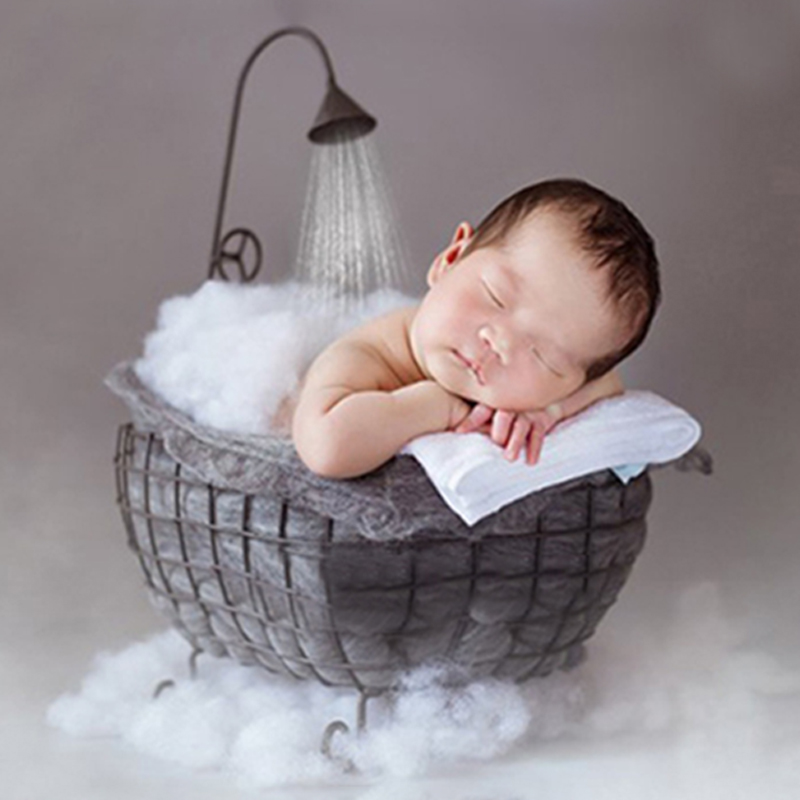 Baby Photo Props Iron Basket Shower Bathtub Newborn Infant Child Photography Auxiliary Frame For Studio Posing Photography Props
