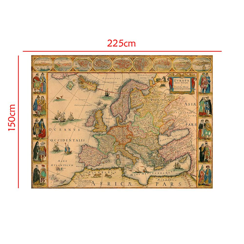 150x225cm Vintage European Map Medieval Decor Map Photography Background  Photo Studio Propos Backdrops
