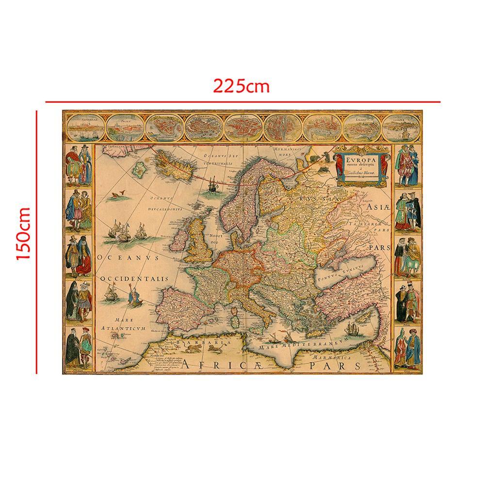 150x225cm Vintage European Map Medieval Decor Map Photography Background  Photo Studio Propos Backdrops