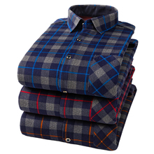 Winter hot Mens Fine Cotton Warm Shirt Double-Sided Velvet Casual Long-Sleeve Plaid Slim Large Size