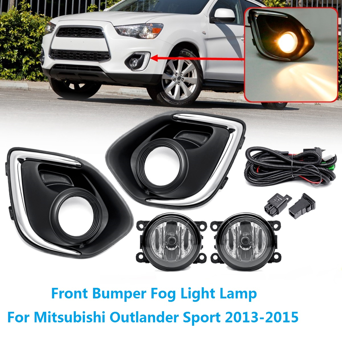 Car Front Bumper Halogen Fog Lights H11 Amber with Wire Covers for Mitsubishi ASX Outlander Sport 2013 2014 2015 Car Front Lamps