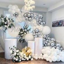 125 szt. Ślub ozdobny balon Garland zestaw srebrno-biały chrom Globos 4D piłka Baby Shower tło Wall Party Supplies