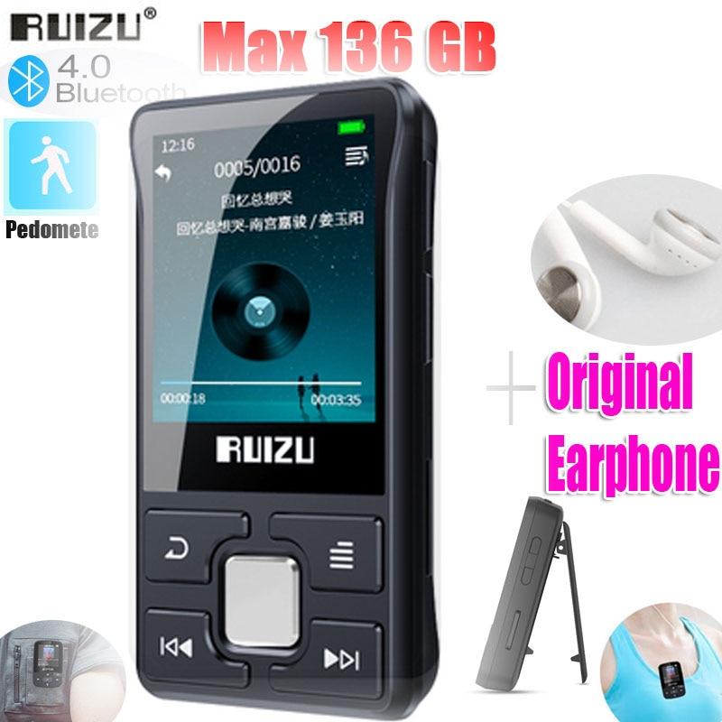 Новейший оригинальный RUIZU X55 Спортивный Bluetooth MP3-плеер 8 ГБ с поддержкой экрана FM, запись, электронная книга, часы, шагомер