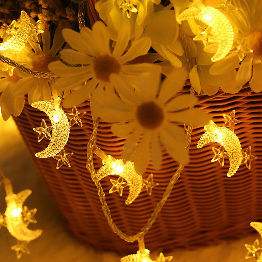 10/20/30/40 LED Star Moon String Light Twinkle Garlands Battery Powered Christmas Lamp Holiday Party Wedding Decorative Lights