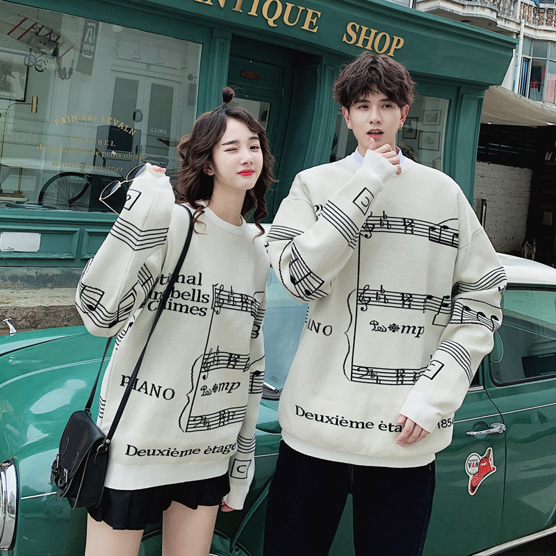 Winter New Sweater Men Fashion Loose Notes Sweater Warm Casual Couple Knitted Pullover Man Streetwear Male Clothes S-2XL
