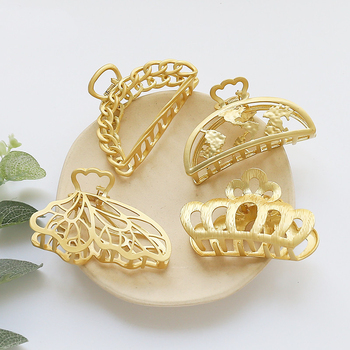New Style Metal Crab Claw Clip For Women Girls gold Butterfly Hollow Crown Charm Barrette fashion Hair Accessories Jewelry Gift handmade fashion jewelry claws natural stone hair jewelry metal hair clip for women girls vintage chinese style accessories hai
