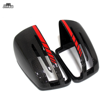 Red line style Carbon fiber Replacement Side Mirror Cover Caps Shell for Benz CLA W117  AMG styling mirror covers replacement carbon fiber shell side