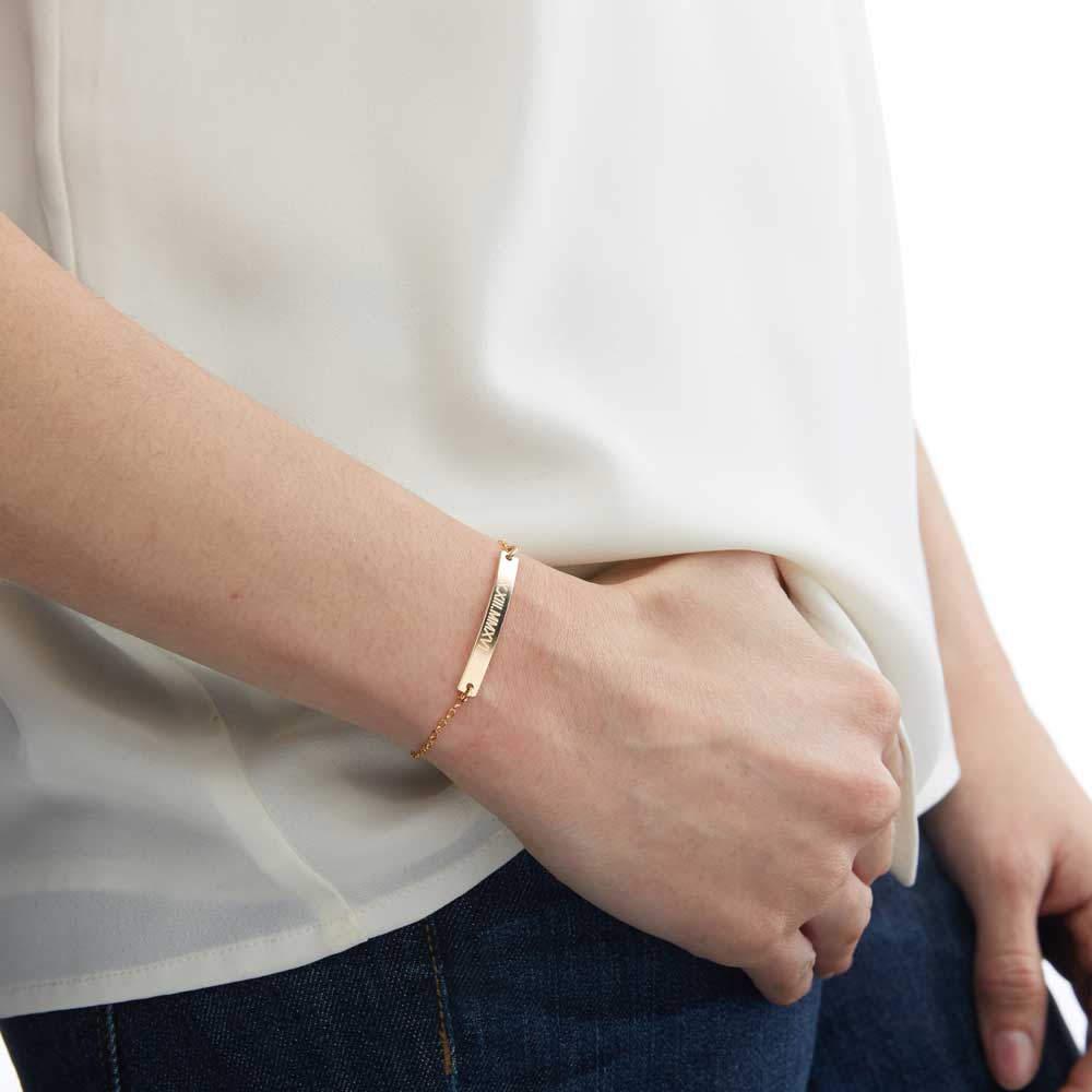 Trendy Long Bar Name Bracelet Femme Personalized Jewelry Stainless Steel Chain Custom Nameplate Engraved Bracelet Accessories|Customized Bracelets|   - AliExpress