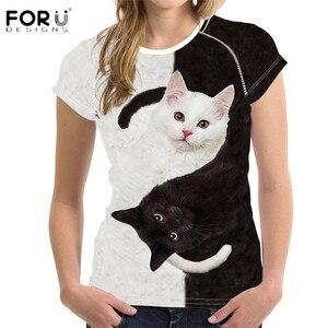 FORUDESIGNS/модные женские летние Короткие Топы И Футболки, Yinyang, с рисунком кота, с принтом животных, мягкие женские футболки с o-образным вырезом,...