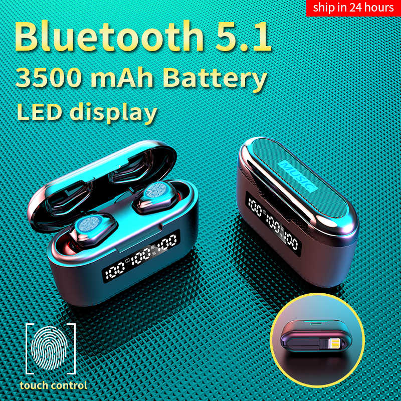 Headphone Nirkabel TWS Bluetooth Earphone 3500MAh Olahraga Tahan Air Headset HI FI 9D Stereo Earbud dengan Mikrofon
