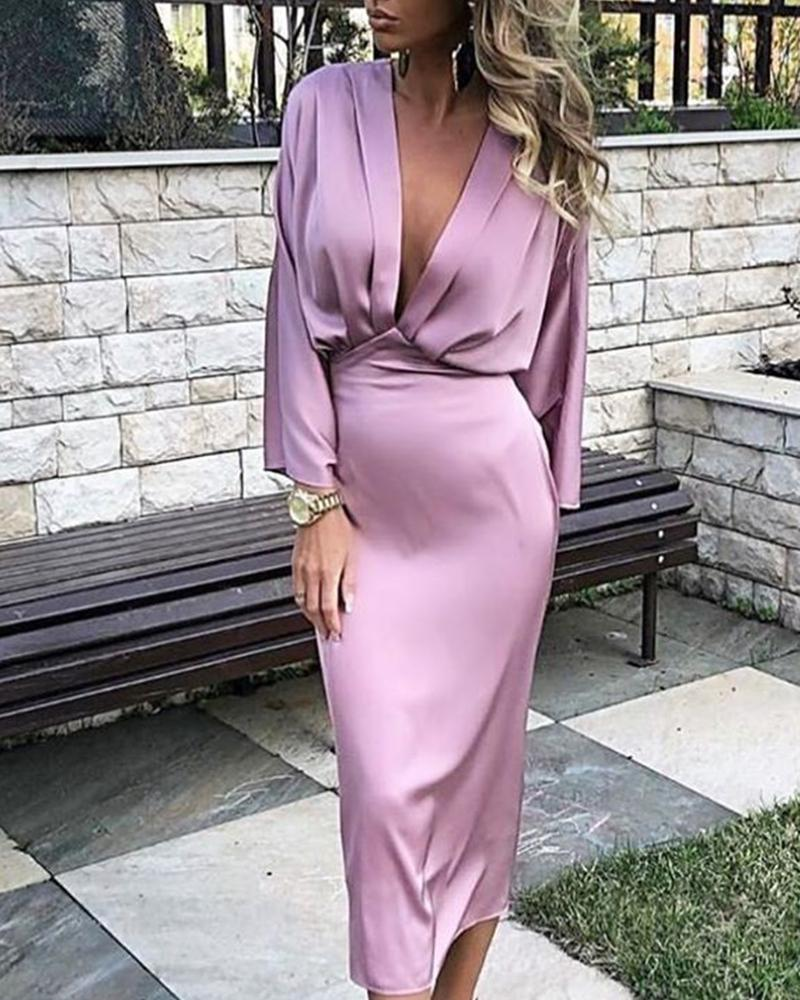 Solid Plunge Ruched Tight Waist Satin Dress Women Long Sleeve Midi Dress Sexy Night Club Party Dresses Elegant Office Robe Femme